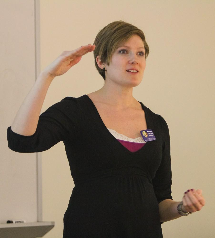 GVL/Jessica HollenbeckPeace Corps Recruiter Kera Halvorson speaks to students in Eberhard on Thursday.Peace Corps Recruiter Kera Halvorson speaks to students in Eberhard on Thursday.