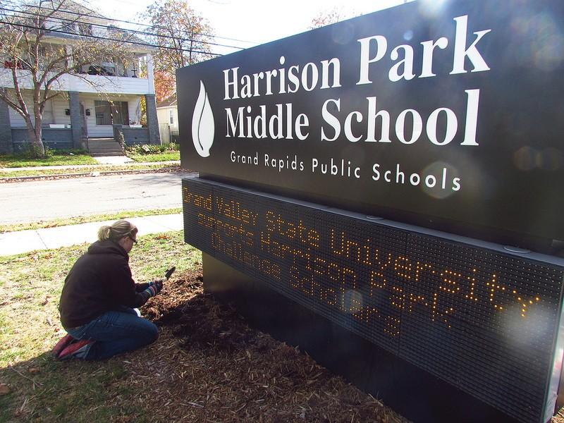 Courtesy / Eric StevensA GVSU student volunteers at Harrison Park Middle School during community outreach week.