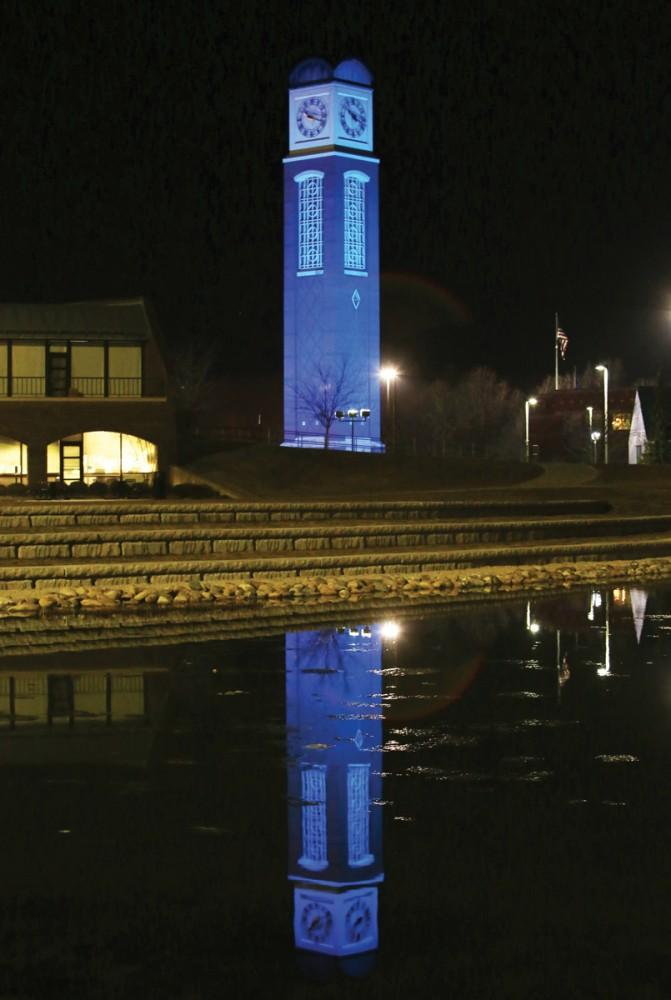 GVL / Robert Mathews GVSU participated in World Autism Awareness Day by lighting the Allendale campus clocktower blue for the day and evening of April 2nd.