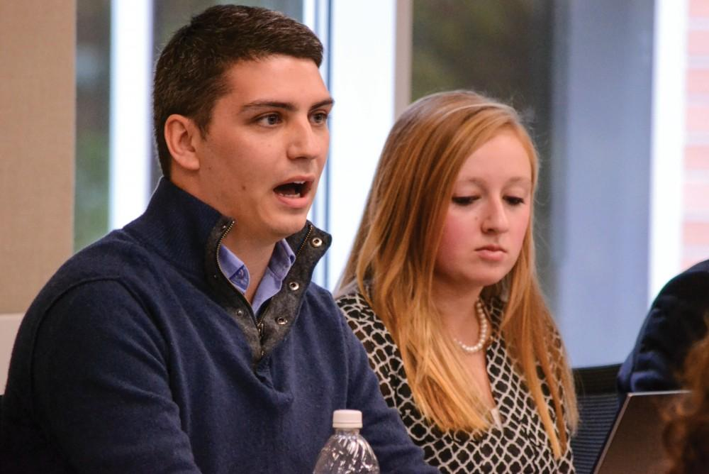 GVL / Hannah Mico. Student Senate President Ricky Benavidez spoke of student concerns during his report at this months UAS meeting, including the student perspective on the addition of a fall semester break.