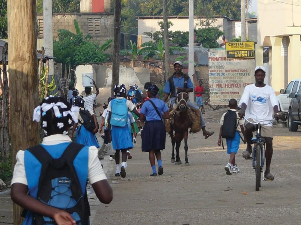 Courtesy / Paul KujalaStudents on their way to school in Port-au-Prince, Haiti, after the earthquake in January 2010.