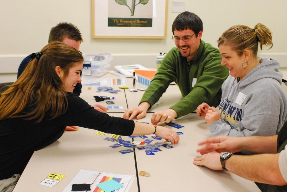 GVL / Hannah Mico. Teachers played math games together to get a gist of different activities they could do with their students in their own classrooms.