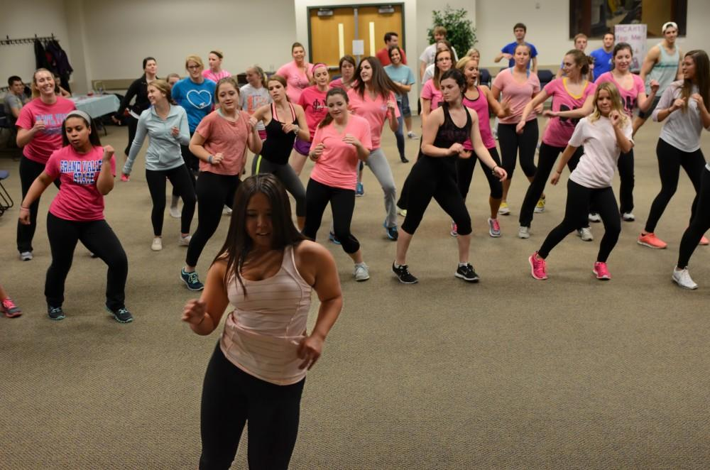 GVL/Kevin SielaffAfter a series of discussions, the group took part in a few rounds of Zumba at Zumba for a Cure, which took place this past Tuesday in Kirkoffs Pere Marquette room.