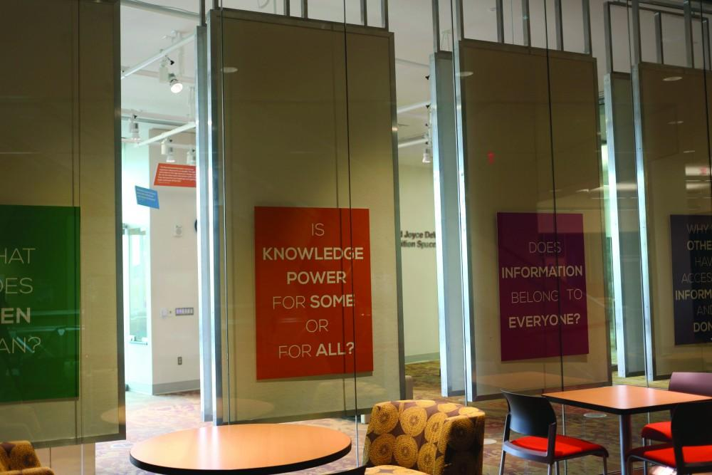 GVL/Marissa DillonThe exhibit in Mary Edema Pew Library explores the idea of open access to information.