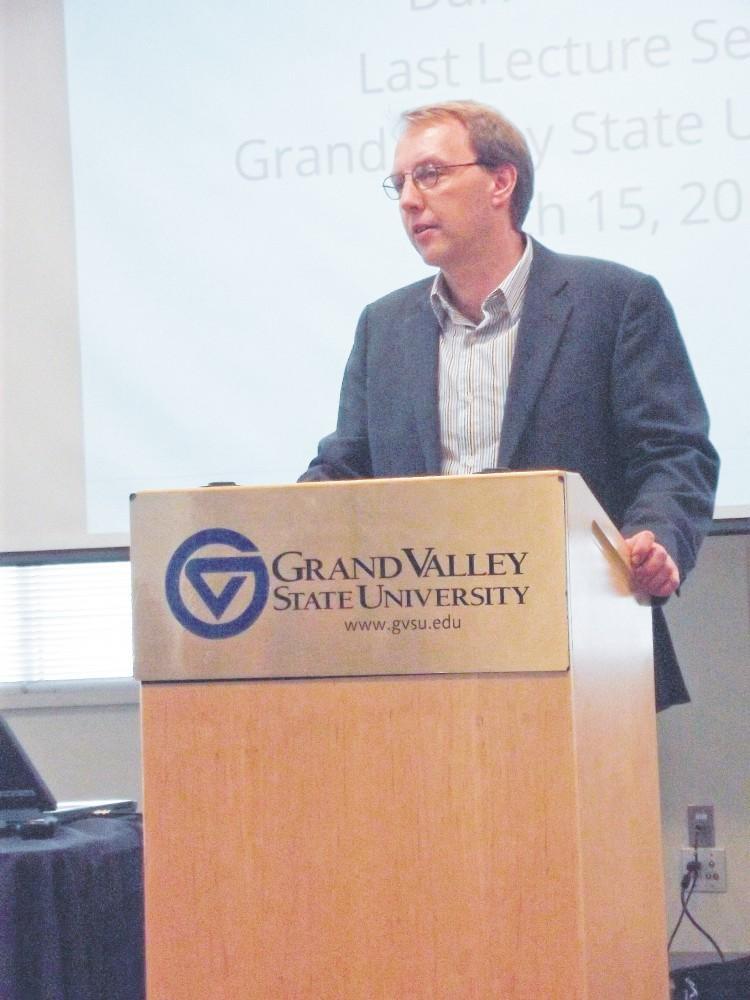 GVL / ArchiveProfessor Darren Walhof speaks during the Last Lecture 2012