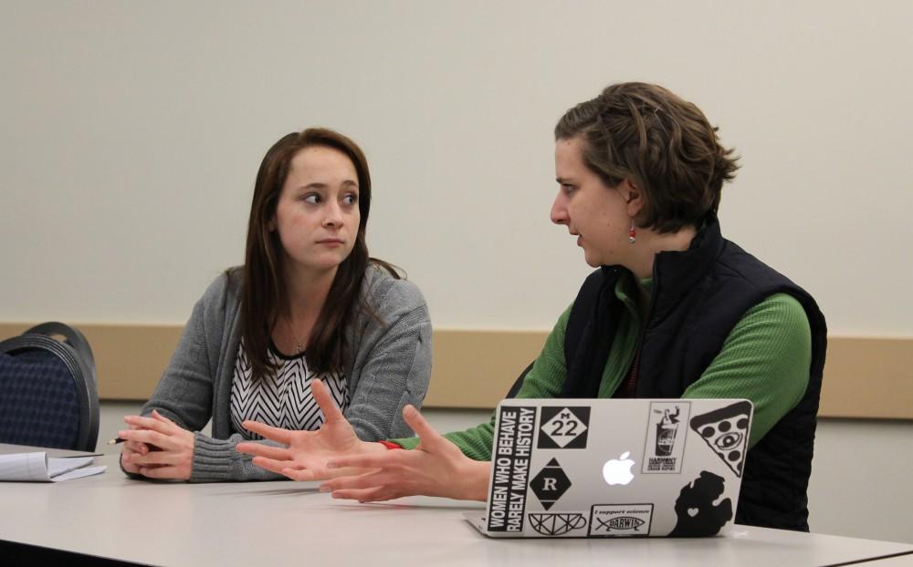 GVL/Sara CarteStudent Jaclyn Ernoyan (left) and keynote speaker Maria Beelen (right)