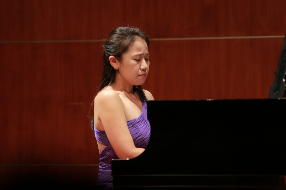 Esther Park performs for students and faculty on Nov. 19 in Allendale, MI.