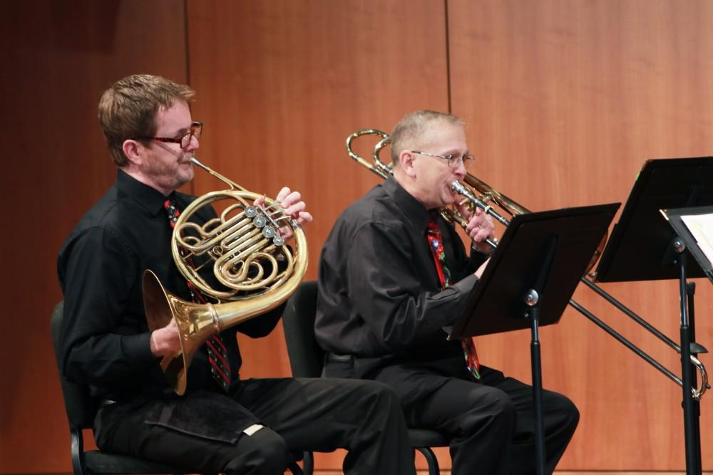Members of the GVSU Brass Quintet performed holiday music for students and faculty on Dec. 2 in Allendale, MI.