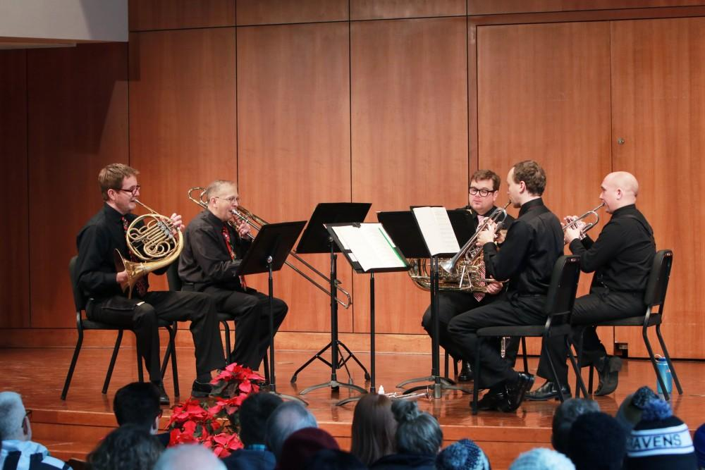On Dec. 2, members of the GVSU Brass Quintet performed holiday music in the Cook-DeWitt Center for students and faculty in Allendale, MI.