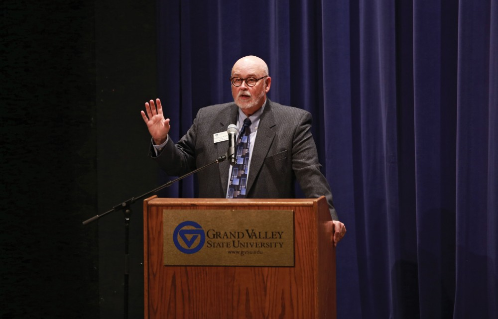 GVL / Kevin SielaffDean of the college of liberal arts and sciences, Frederick J. Antczak, welcomes the audience to the concert. The GVSU music department presents a faculty concert as a part of Fall Art Celebration Sept. 21 in the Louis Armstrong Theatre.