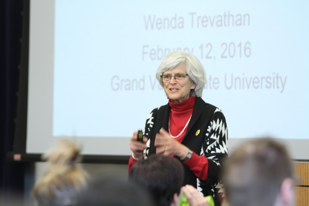 GVL / Kasey Garvelink - Dr. Wenda Trevathan from New Mexico State University was one of the keynote speakers to start off the events of Darwin day on Feb. 12, 2016 in Allendale, MI.