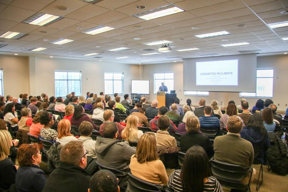GVL / Sara Carte - Dr. Jesse M. Bernal, Vice president for the Inclusion and Equity, speaks at the myGVSU Climate Survey Results meeting in the Kirkhof Center on Wednesday, Mar. 2, 2016.