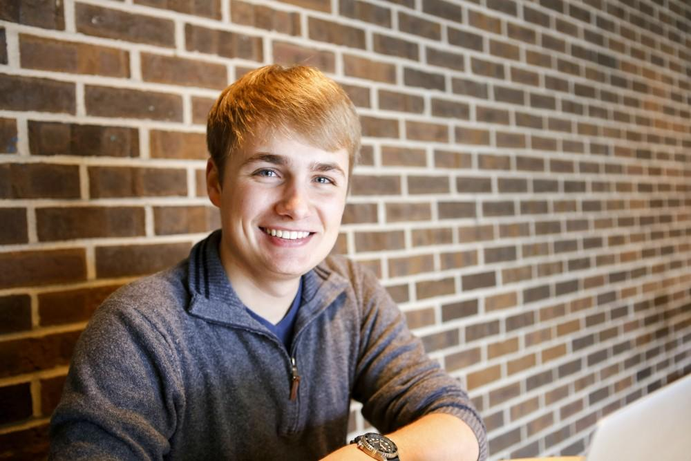 GVL / Sara Carte - Entrepreneur Zachary Collins, is in his Junior year at Grand Valley with a new business called ZaCo Technologies on Friday, March 18, 2016.