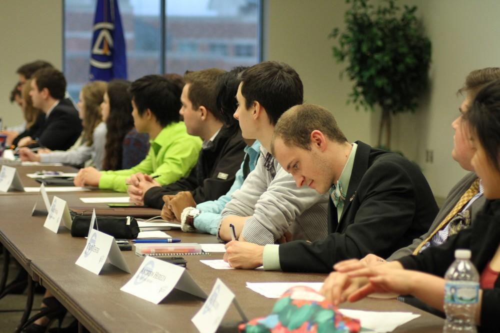 GVL / Kasey Garvelink - Student senate members were able to vote on what they favored for an upcoming event at the student senate meeting on Mar. 24, 2016 in Allendale.