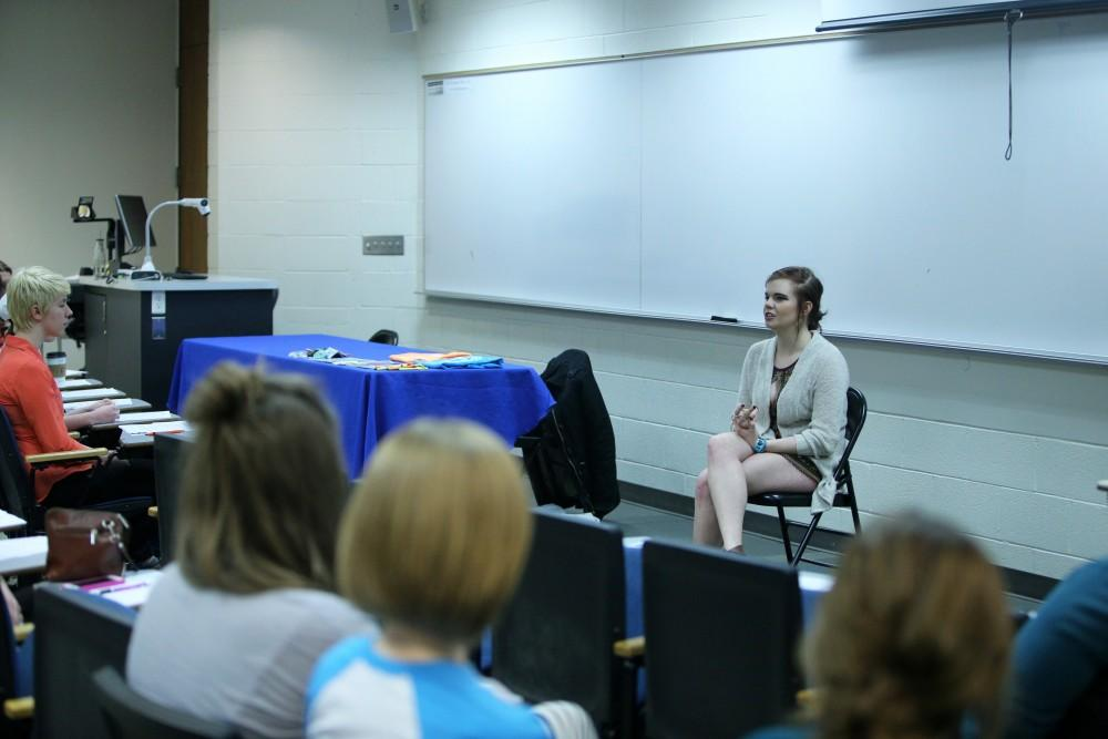 GVL / Emily Frye   The Grand Valley State University group Eyes Wide Open, hosted the annual Take Back The Night event which addressed sexual assult and those affected by it on Monday April 11, 2016. Student member Malayna Hasmanis speaks to the group.