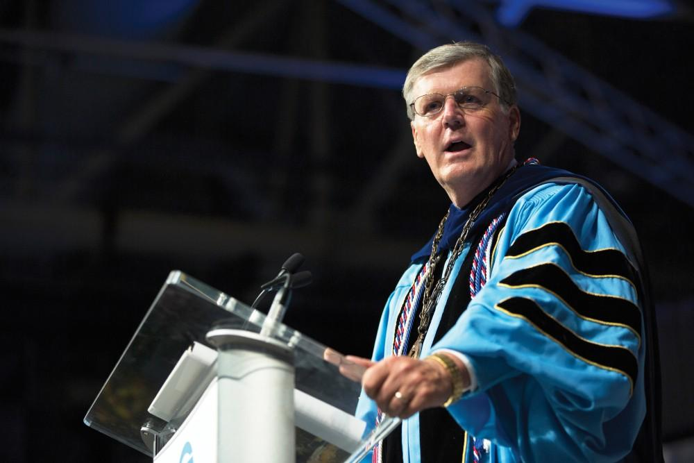 GVL / Kevin SielaffPresident Thomas Haas speaks during convocation. Grand Valley kicks off the academic year with their annual convocation ceremonies, held August 29th, 2015 inside the Fieldhouse Arena.