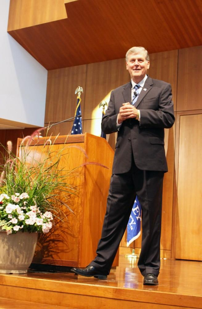 GVL / Audra GamblePresident Thomas Haas during the annual faculty/staff address on Friday Aug. 26th in the Cook-Dewitt Center.