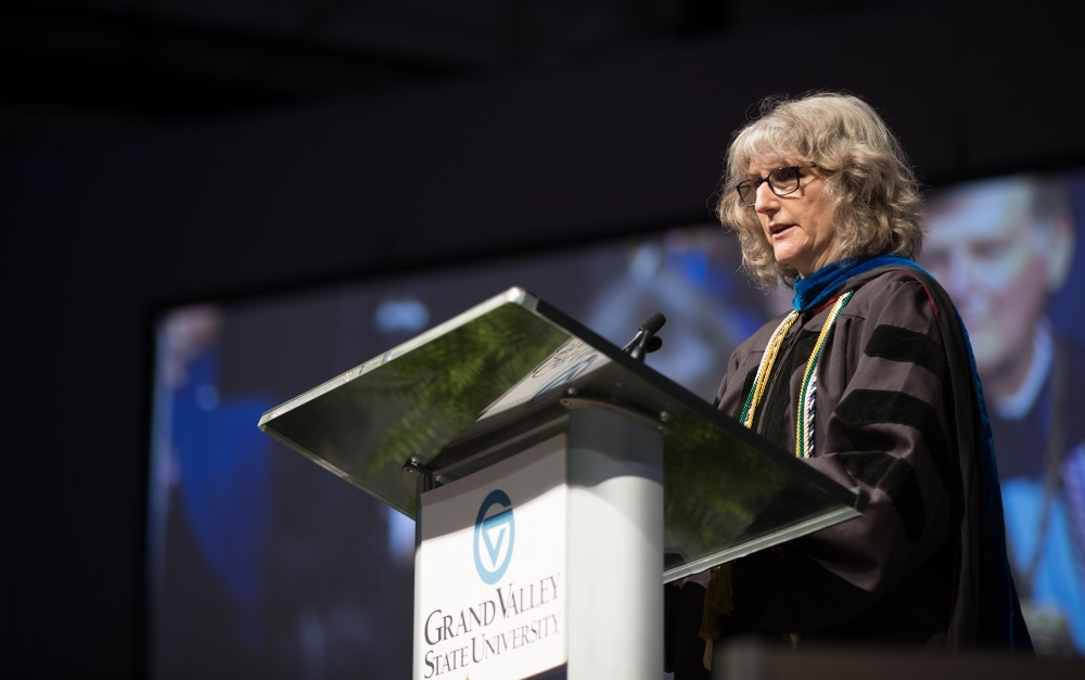GVL/Kevin Sielaff - Karen Gibson speaks at Grand Valley's annual Convocation ceremonies on Friday, August 26, 2016.