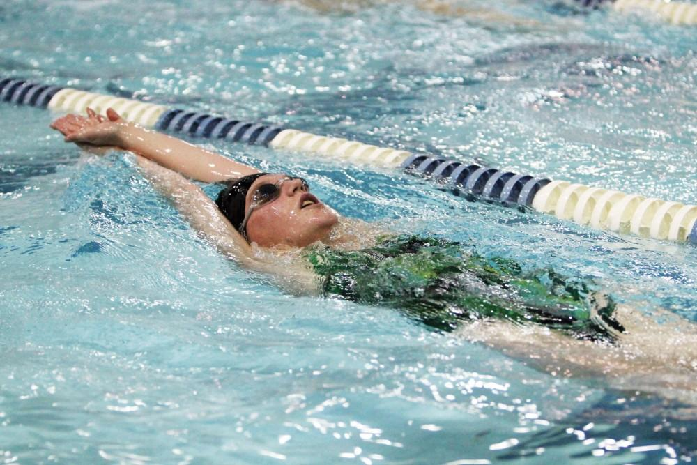 GVL/Emily Frye - Samantha Postmus practices in Grand Valley's pool on Tuesday, Oct. 28, 2014.