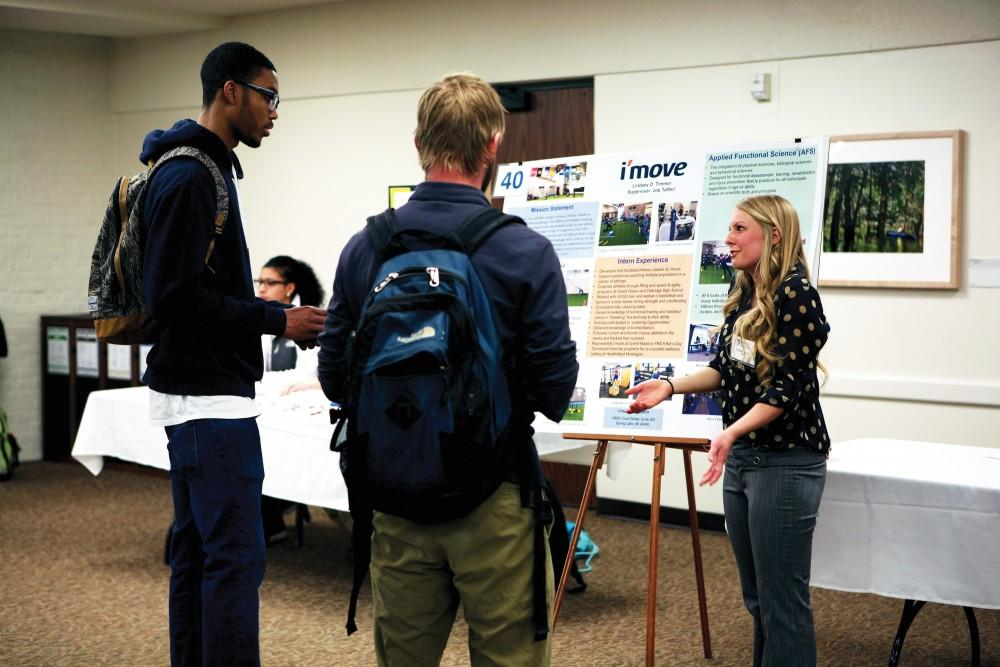 GVL/Emily Frye - Lindsey D. Timmer presents during the exercise science fair on Monday, April 6, 2015 inside the Kirkhof Centers Grand River Room.