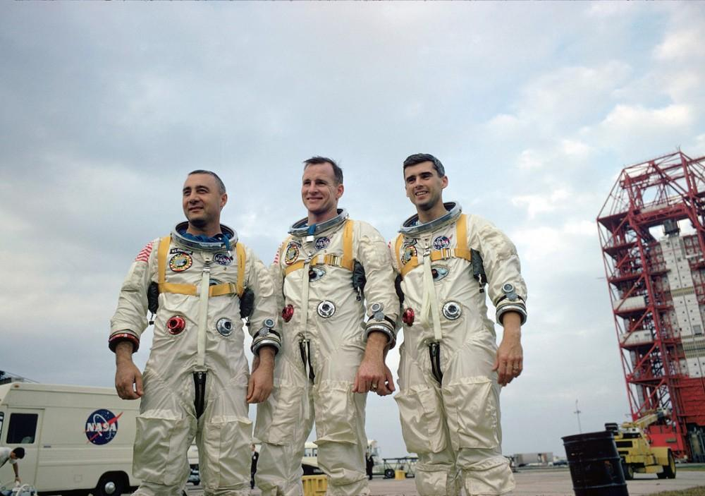 "GVL / Courtesy - NASA imagery Roger Chaffee (right), pictured, joins Commander Virgil ""Gus"" Grissom (left) and Senior Pilot Ed White (center). Photo Credit: NASA"