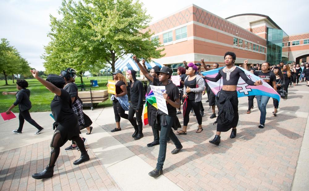 GVL/Kevin Sielaff - Grand Valleys NAACP chapter holds a campus wide demonstration in protest of police brutality Friday, Sept. 23, 2016 in Allendale.