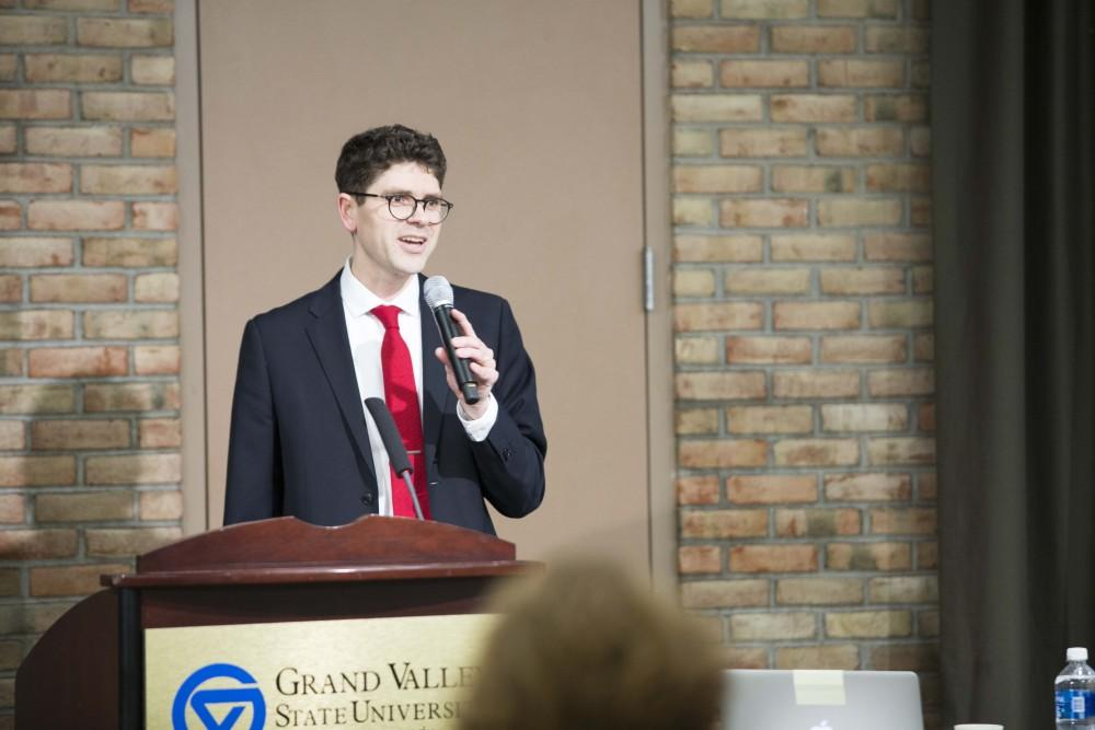 GVL / Sara CarteProfessor Andrew D. Spear speaks at the Theory of Knowledge: Epistemic Pornography and Epistemic Poison at downtown's campus on Tuesday, Feb. 7, 2017.