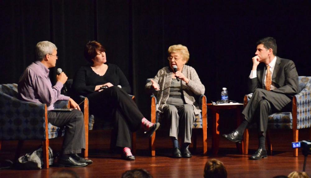 GVL / Courtesy - Aurora University Magda Brown discusses Kristallnacht with a panel at Aurora University in Aurora, Illinois on Thursday, Nov. 7, 2013.