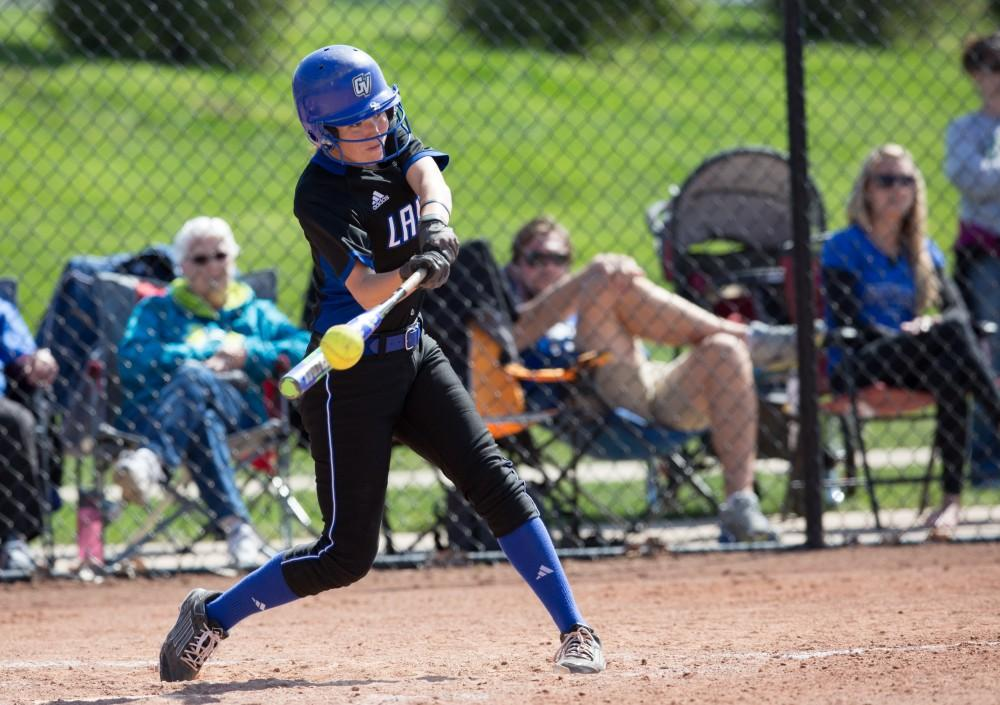 GVL / Kevin Sielaff – Kelsey Dominguez (2) crushes the ball and sends it flying into the outfield. Grand Valley takes the victory over Walsh in both games held in Allendale on Saturday, April 23, 2016.