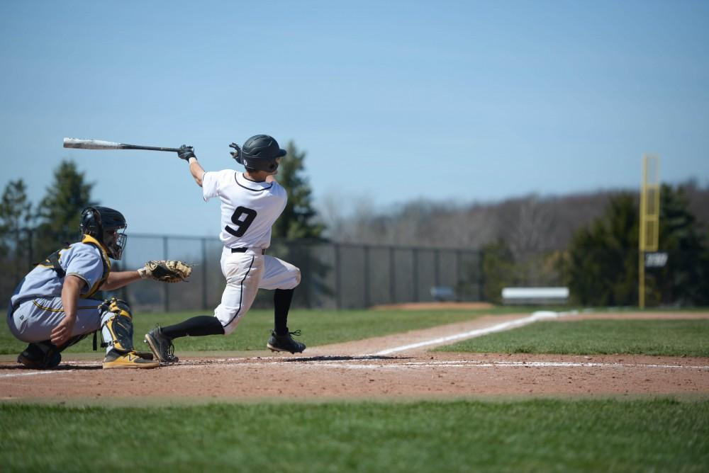 GVL/Kevin Sielaff - Anthony Villar (17) takes a swing during the game vs. Ashland on Wednesday, April 12, 2017.