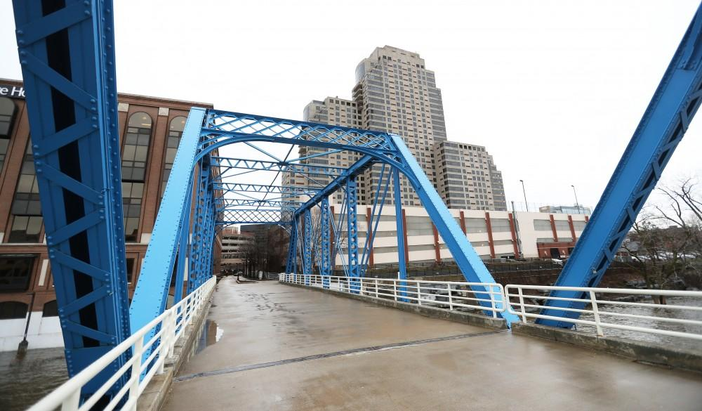 GVL/Kevin Sielaff - The blue bridge in downtown Grand Rapids, as pictured on Wednesday, April 5, 2017.