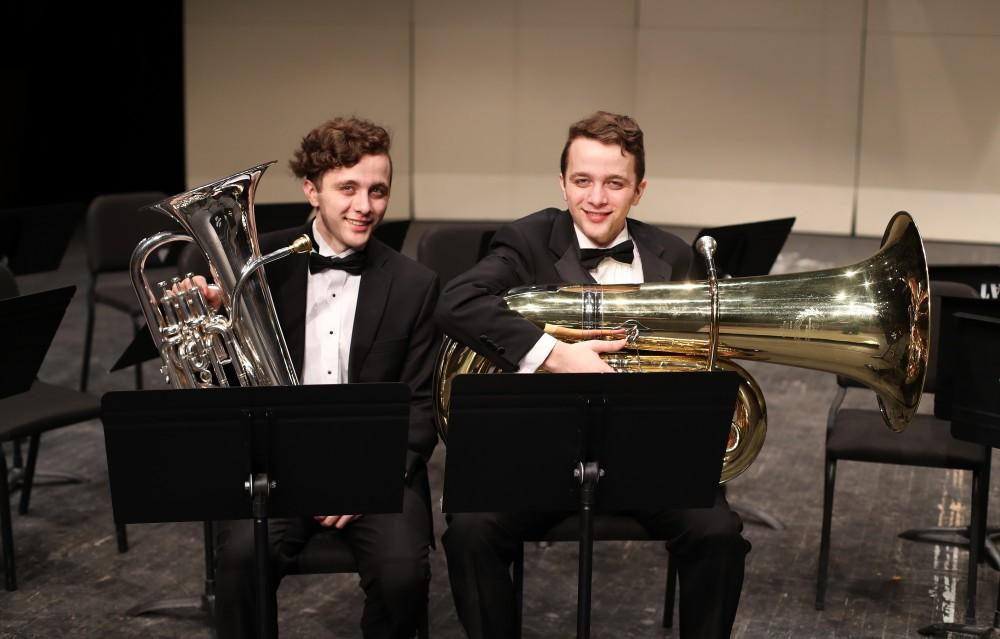 GVL/Kevin Sielaff - Nikolaus (left) and Lukas (right) Schroeder pose for a photo on the stage of the Louis Armstrong Auditorium on Friday, April 14, 2017.