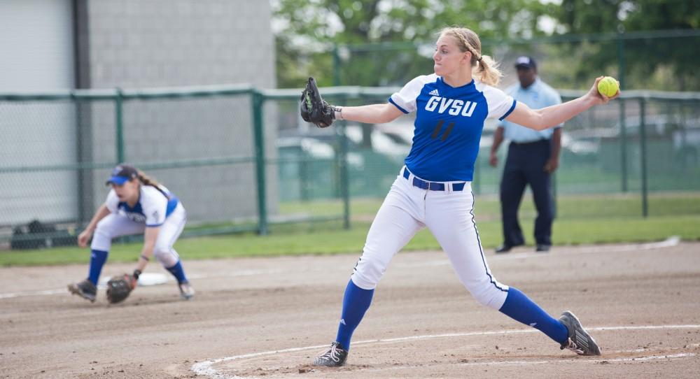 GVL/Kevin Sielaff - Ellie Balbach (11) throws a pitch toward home plate. Grand Valley State squares off against Wayne State in the second game of the Midwest Super Regional tournament. The Lakers came out with the victory with a final score of 1-0 on Thursday, May 12, 2016 in Detroit, MI.