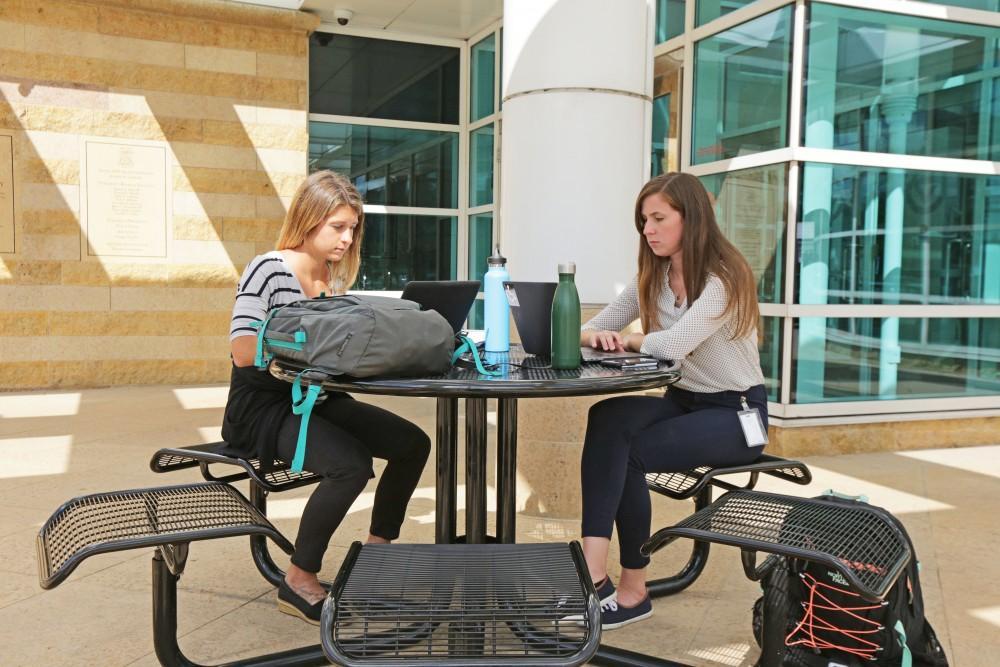 GVL / Emily Frye GVSU health science students Stefanie Austin and Catherine Keegin on Thursday September 14, 2017.