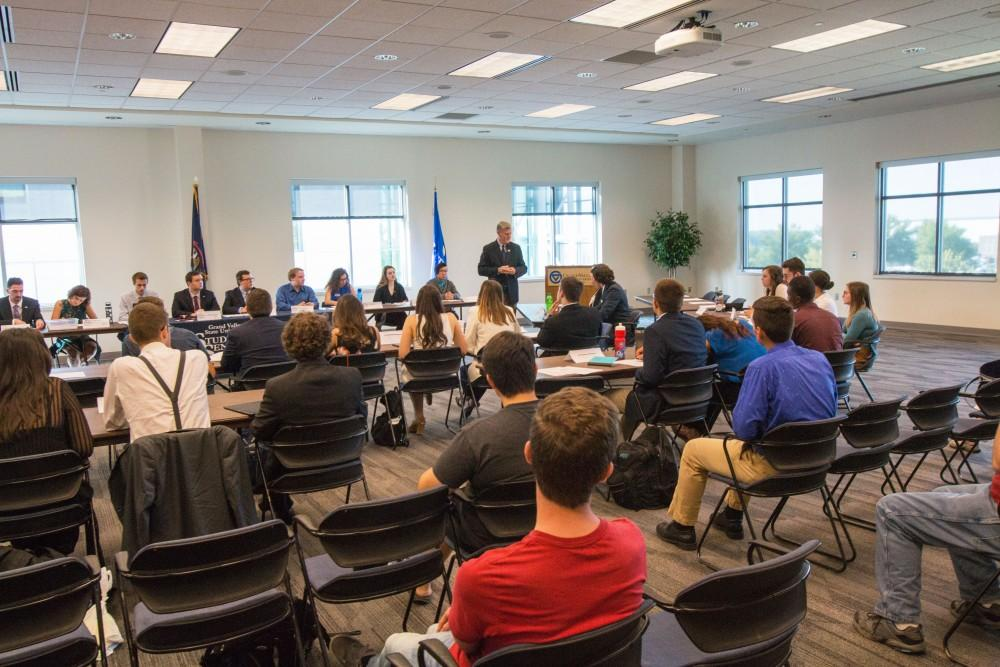 GVL / Spencer ScarberPresident Thomas Haas speaks to Student Senate during their first session on Thursday August 31, 2017.