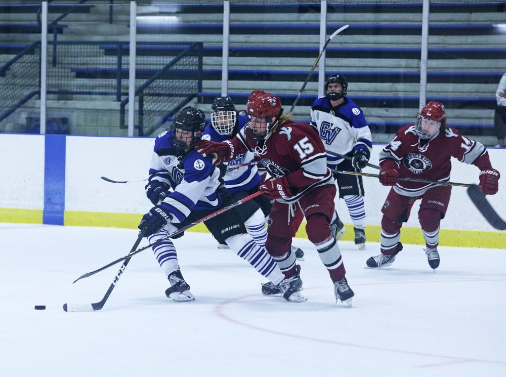 GVL / Emily FryeEvan Newel fights to keep the puck during the game against Indiana University of Pennsilvania on Friday September 22, 2017.