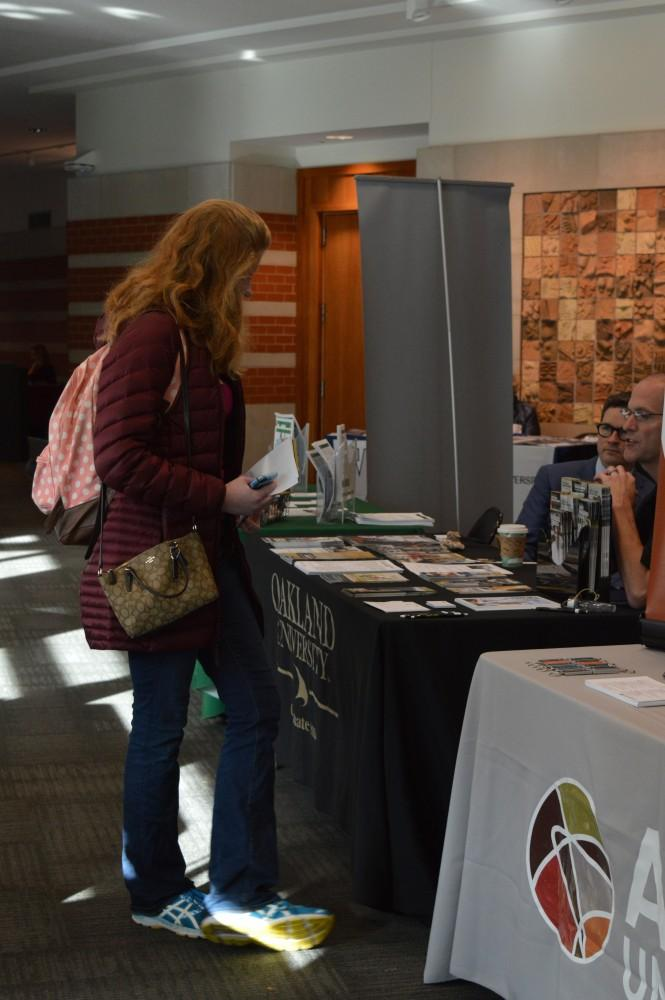 GVL/Hannah Zajac-- Hannah Todd, Junior and Psycology major, talks to Oakland University about future graduate school options in Henry Hall on Wednesday 25 Oct 2017.