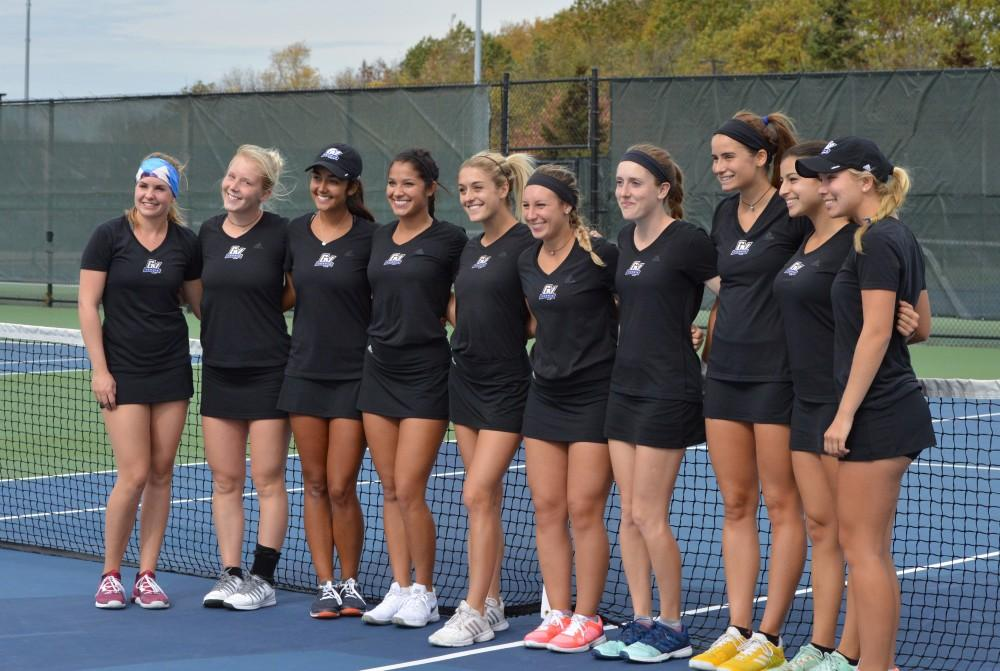 GVL/Hannah Zajac-- Grand Valleys tennis team lines up for a photo for senior day on Saturday 21 Oct 2017.