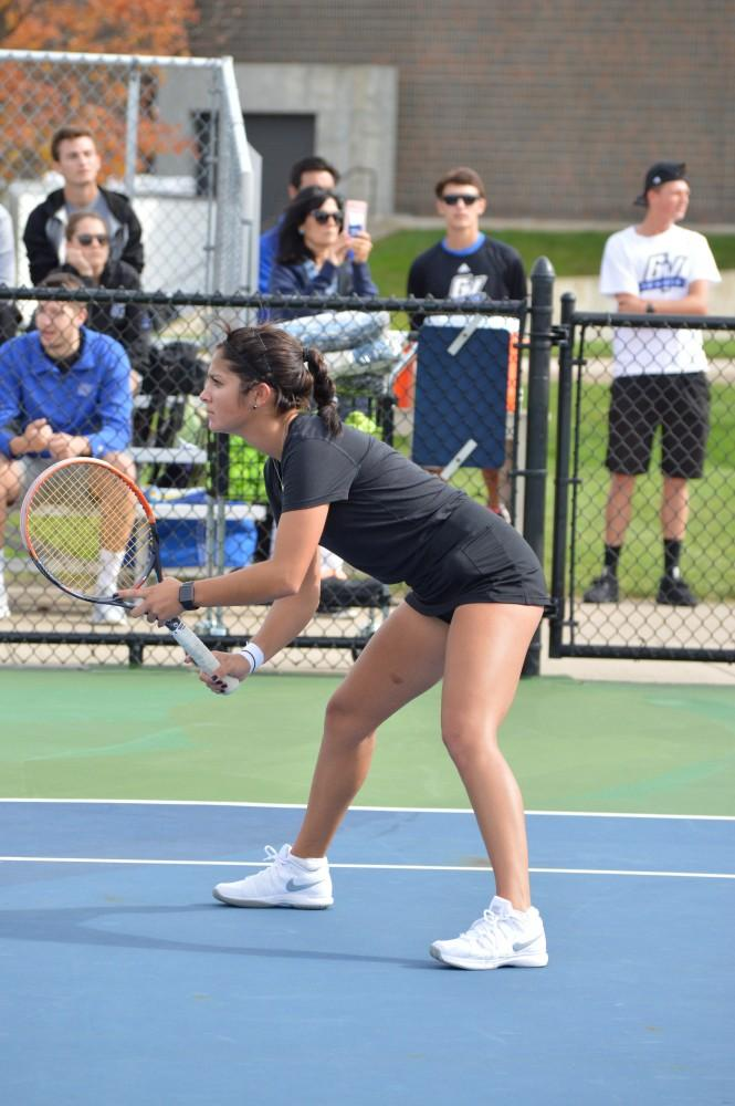 GVL/Hannah Zajac-- Alexa Sweeney sets herself up for a strong doubles match against Saginaw Valley on Saturday 21 Oct 2017.