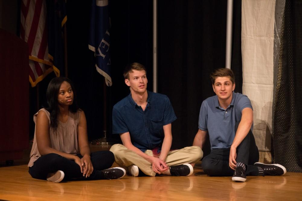GVL / Dylan McIntyre. Chloe Chavers, Parker Ykimoff and Jacob Molli acting during the Bard To Go play on Saturday, Nov. 4, 2017.
