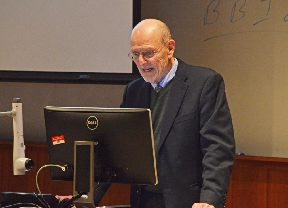 GVL/Hannah Zajac-- Professor Jim Goode of the History department gives his Last Lecture in Henry Hall on Thursday, 16 Nov 2017.