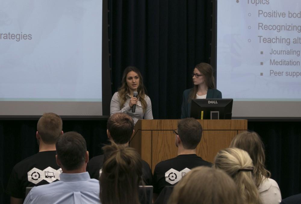 GVL/Hannah Zajac-- Brianna Malstrom & Anastasia Tjapkes present their idea for the Laker Effect Challenge on Thursday 30th Nov 2017.