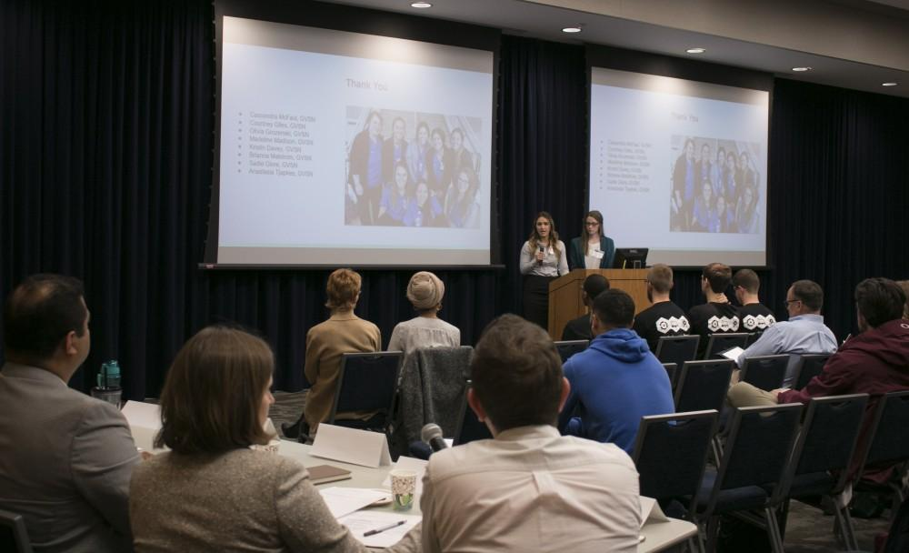 GVL/Hannah Zajac-- Brianna Malstrom & Anastasia Tjapkes answer judges questions after presentation for the Laker Effect Challenge on Thursday 30th Nov 2017.