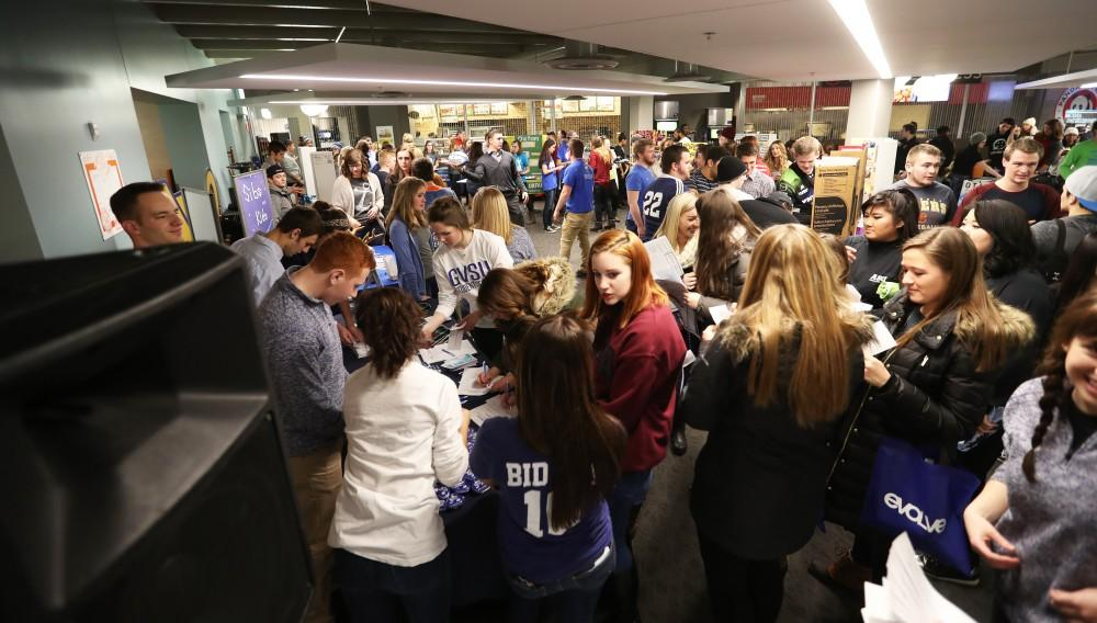 GVL/Kevin Sielaff - Students gather in the upstairs dining area of the Kirkhof Center for Campus Life Night 2.0 which takes place on Friday, Jan. 13, 2017.