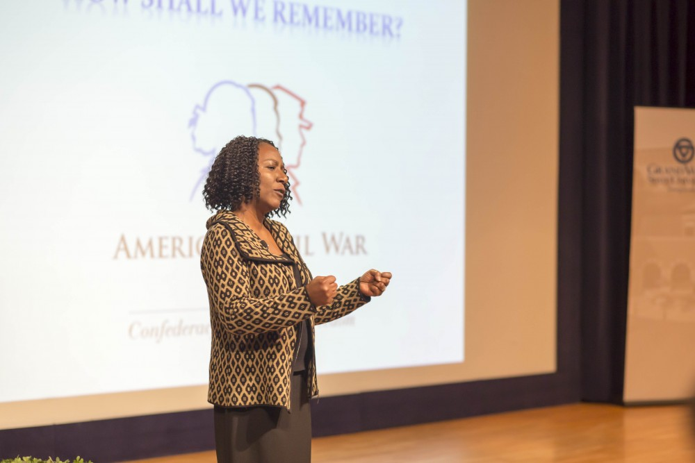 """GVL / Sara CarteChristy S. Coleman, CEO of the American Civial War Museum in Richmond, Virginia, speaks at the """"How Shall We Remember?"""" event for the week celebration of Martin Luther King Jr. in the Loosemore Auditorium on Tuesday, Jan. 16."""
