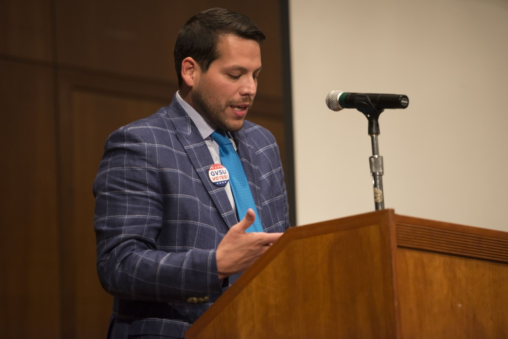 GVL/Luke Holmes - Jesse Bernal, pictured, introduces a keynote speaker during a lecture in the Cook-DeWitt Center Monday, Sept. 26, 2016.