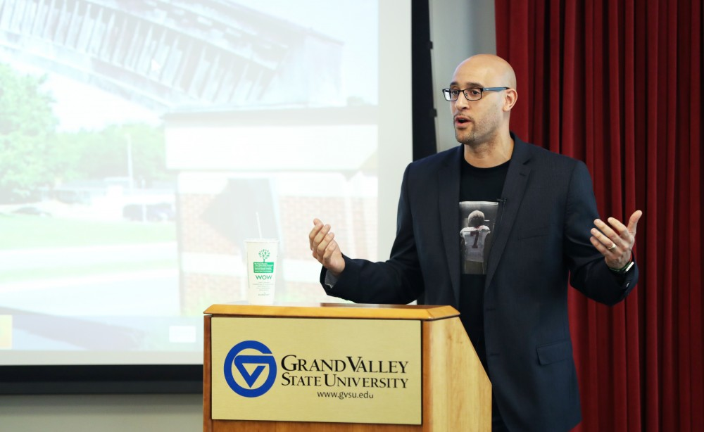 GVL/Kevin Sielaff - Professor Louis Moore speaks during the Democracy: 101 event on Wednesday, Feb. 22, 2017.