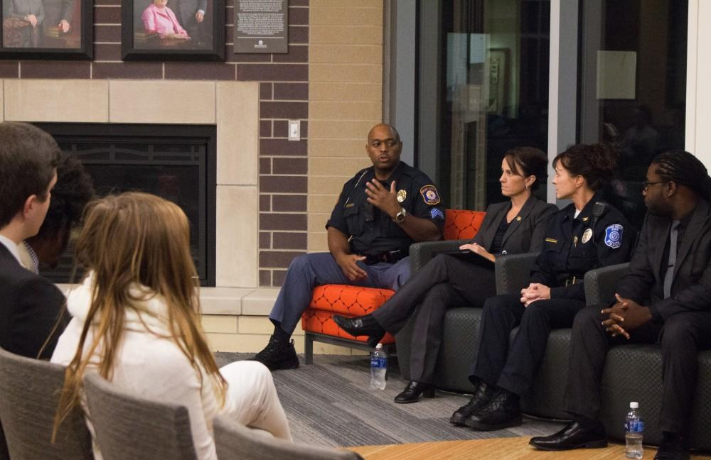 GVL/Mackenzie Bush - Sgt. Terry Dixon (fat left) answers a question at the police brutality panel discussion Thursday, October 20 in Hilton Hooker Living and Learning Center