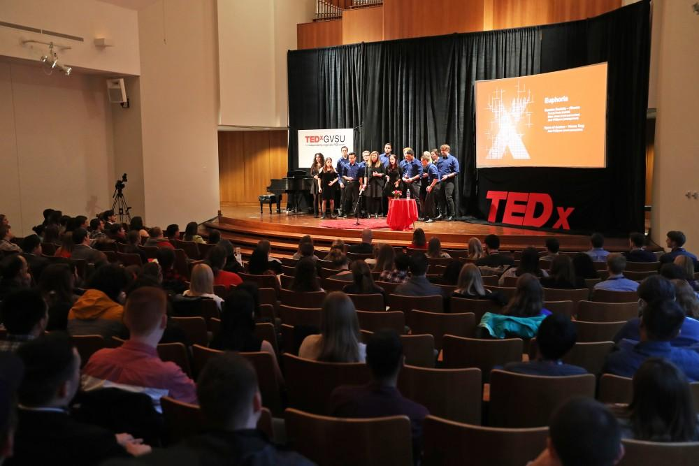 GVL/Kevin Sielaff - Euphoria acappella group performs during the TEDxGVSU event held in Grand Valleys Cook-DeWitt Center on Friday, Feb. 24, 2017.