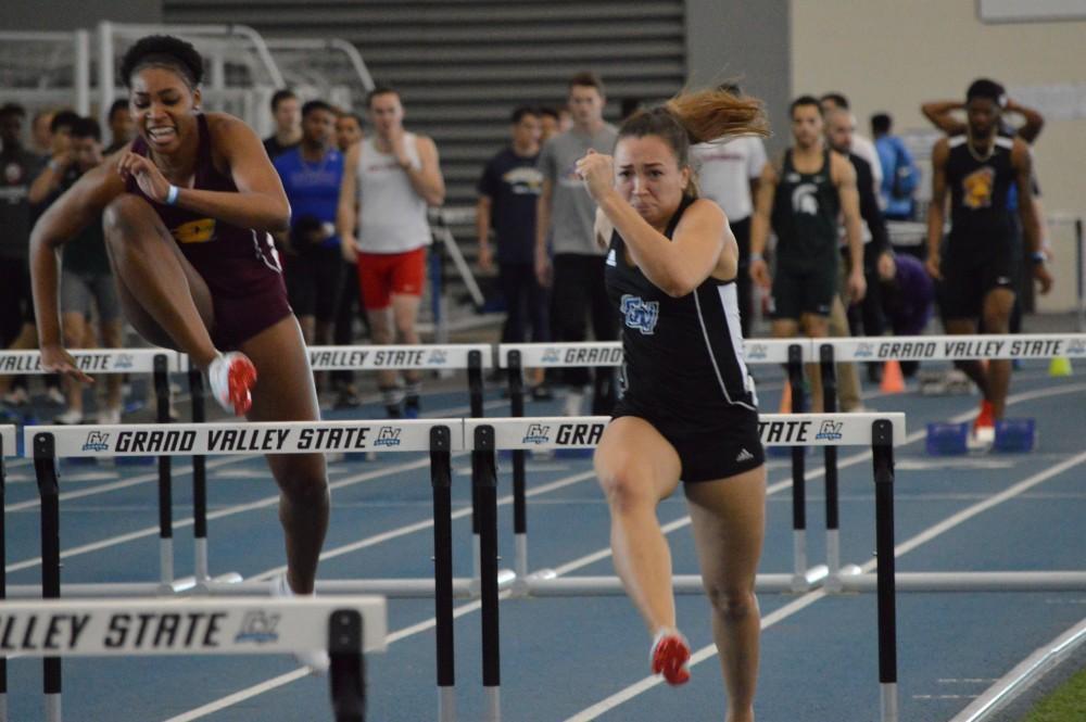 GVL/Hannah Zajac— Breanna Luba sprints through the hurdles toward the finish line on Saturday 10 Feb 2017.